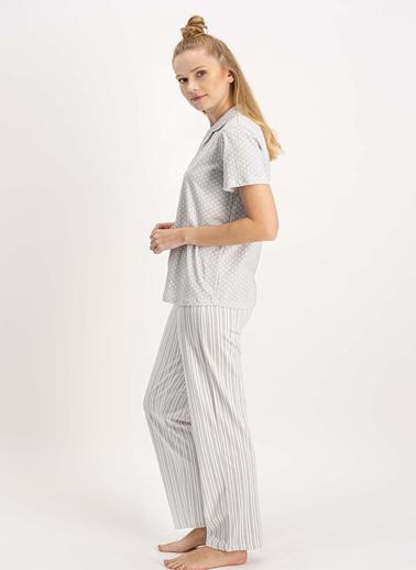 Arnetta Açık Gri Kadın Gömlek Pijama Takımı Gri